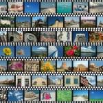 fond avec des bandes de film de voyage — Photo