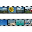 Set of filmstrips with travel photos — Stock Photo