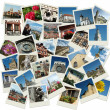 Stack of snapshots with Europe landmarks - Stock Photo