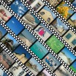 Background with travel photo filmstrips — Stock Photo