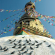 Stock Photo: Top of the Swayambhunath stupa in Nepal