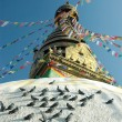 Top of the Swayambhunath stupa in Nepal - Stock Photo