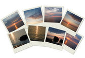 Stack of travel photos with sunrises — Stock Photo