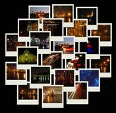 Pila de fotos con paisajes urbanos de noche — Foto de Stock