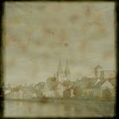 Vintage postcard with Regensburg — Stock Photo