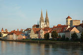 View of Regensburg embankment,Germany — Stock Photo