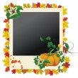 Stock Vector: Autumn photo frame with pumpkin