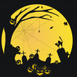 Royalty-Free Stock Векторное изображение: Halloween vector background with pumpkin