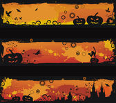 Three grunge halloween vector banners — Stock Vector