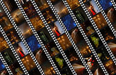 Filmstrips background with night scenes — Stock Photo