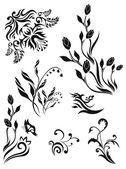 Collection of vector floral patterns — Stock Vector