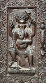 Fragment of wooden door with Ganesha — Stock Photo