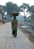Street life in india in the morning — Stock Photo