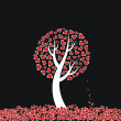 Stock Vector: Red heart tree on black background