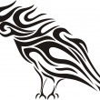 Stock Vector: Tribal raven vector tattoo