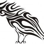 Tribal raven vector tattoo — Stock Vector