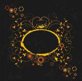Grunge floral frame auf schwarzem hintergrund — Stockvektor