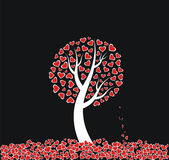 Red heart tree on black background — Stock Vector