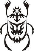 Tribal sacred scarab tattoo — Stock Vector