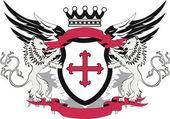 Grunge heraldic shield with cross flory — Stock Vector