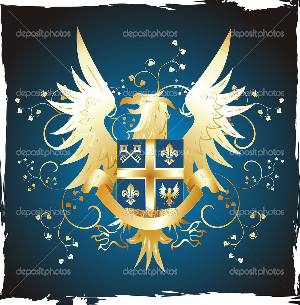 Grunge shield with golden eagle — Stock Vector #1206189