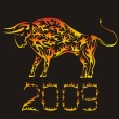 Flaming Chinese ox - symbol of 2009 year — Stock Vector