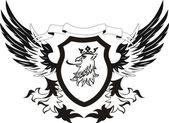 Grunge retro shield with griffon head — Stock Vector