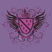 Grunge lilac shield with Fleur-de-lis — Stock Vector