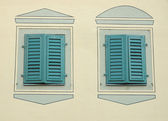 Two windows with closed shutters — 图库照片