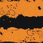 Grunge black floral frame — Stock Vector