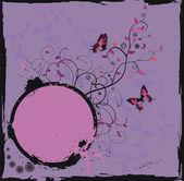 Marco floral grunge con mariposa — Vector de stock