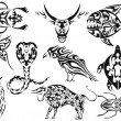 Set of vector tribal animal tattoos — Vector de stock