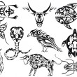 Set of vector tribal animal tattoos - Stock Vector