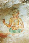 Wall painting in Sigiriya rock monastery — Stock Photo