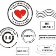 Grunge Valentine's day post stamps — 图库照片