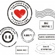 Grunge Valentine's day post stamps - Stock Photo