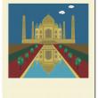 Old photo with Taj Mahal,India — Stock Vector