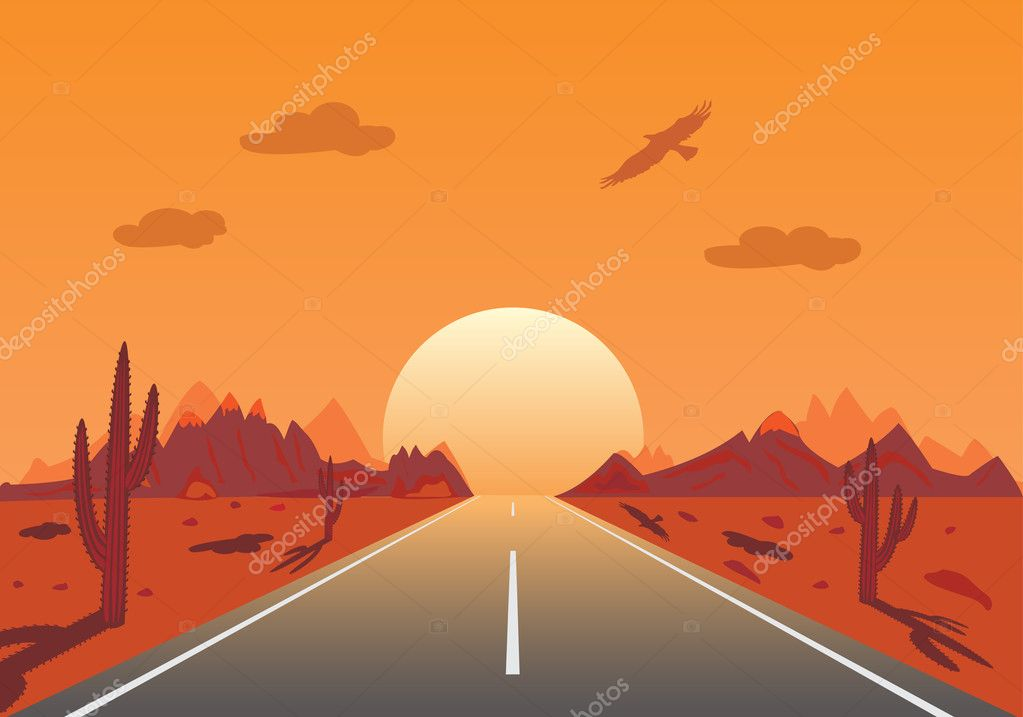Sunset Road in mexican desert  Stock Vector #2320132