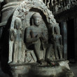 Buddha at cave -Ellora temple,India - Stock Photo