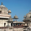 Domes of Raj Mahal palace,Orcha ,India - Stock Photo