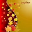 Gold autumn background with leaves — Stock Vector #1052620