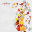 Stock Vector: Floral autumn background with leaves