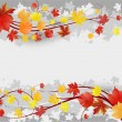 Floral autumn background with leaves - Imagen vectorial
