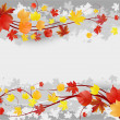 ストックベクタ: Floral autumn background with leaves