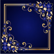 Stock Vector: Golden floral frame