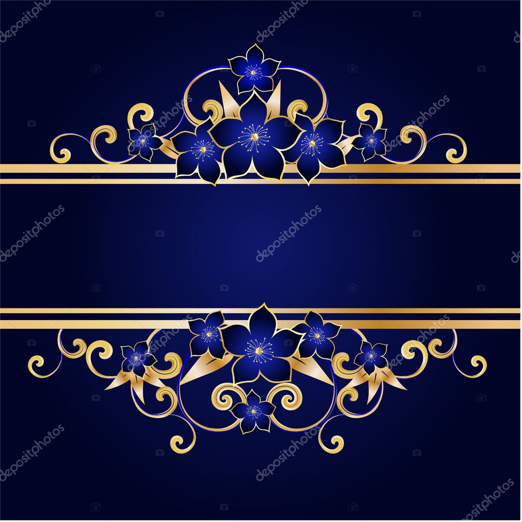 Golden floral frame, vector illustration — Stock Vector #1863276