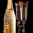 Glasses of champagne with bottle — Stock Photo #1052902