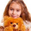 Little Girl And Teddy Bear — Stock Photo