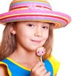 Girl in straw hat — Stock Photo