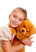 Little girl e teddy bear — Foto Stock